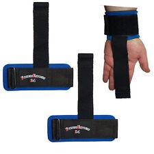 1 Paar Zughilfe Zughilfen Straps mit Bandage / Griffhilfe schwarz/blau NEU