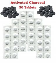 50 Activated Charcoal Tablets 250mg - Detox, Digestion Aid, Heartburn, Wind