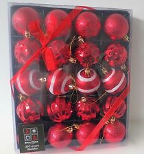 20 Gorgeous Xmas Tree Hanging Ornament Baubles Sparkly Red Chic Display New