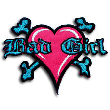 Bad Girl Heart Patch Iron on Choppers Biker Motorcycle Lady Rider Tattoo Racing