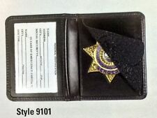 Bi Fold Black Leather Sheriff 7 Point Star Badge Holder CDCR Corrections Officer