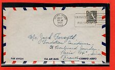 Canada to France 15 cent airmail rate single usage  with contents 1954