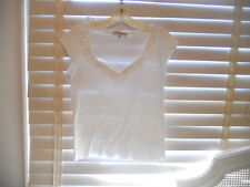 anne Fontaine Paris ~ Art to Wear ~ White Nelcia Ruffle Collar V-Neck Tee ~ 40