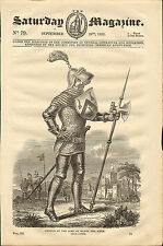 "1833 original  wood cut print of ""  armour of the time of henry the fifth  """