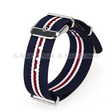 Nylon Military Army Watches Straps Wristwatch Band Buckle 20mm Stripe Pattern