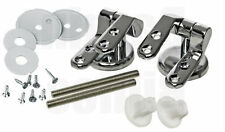 NEW Chrome/Silver Universal  Replacement Toilet Seat Hinges with Fittings Set