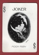 1 Single Swap Playing Card JOKER F78 MOON FAIRY 1899 CUTE GIRL WIDE ANTIQUE OLD