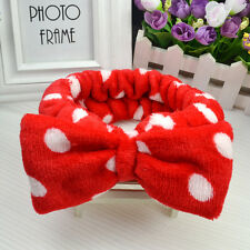 facial wash face bath shower makeup spa big bow elastic hair headband soft towel