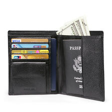 Quality Men RFID Blocking Leather Passport Wallet Passport Holder Cover Black