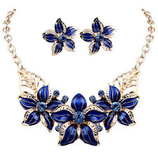 Fashion Womens Jewelry Crystal Flower Bib Statement Chunky Necklace Earrings Set
