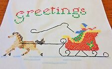 Hand Embroidered Vintage Cross Stitch Christmas Table Runner 14.25 x 43