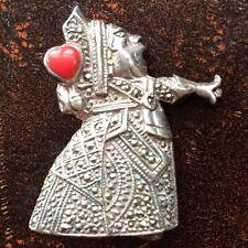 Alice Wonderland caracteriza reina corazones fundido de plata de ley Esmalte Broche Pin