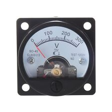 AC 0-300V Round Analog Dial Panel Meter Voltmeter Gauge Black CT