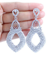 DANGLE DROP AUSTRIAN CRYSTAL RHINESTONE SILVER CHANDELIER EARRINGS BRIDAL E12167