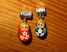 Hand painted BLUE RED 2 Charm UNIQUE RUSSIAN DOLL EUROPEAN Beads Snake Bracelet