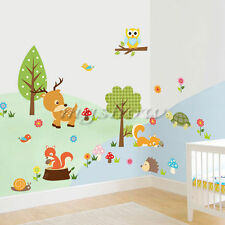 Animal Jungle Zoo Tree Owl Wall Sticker Kids Room Decals Decor Vinyl Squirrel