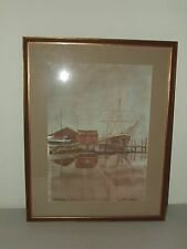 Framed Original Art Seaport Watercolor Painting by Listed Artist Paul N. Norton