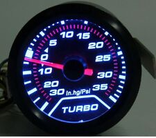 Universal 52mm White LED Light Turbo Boost Pressure Gauge Smoked Dials Face Psi