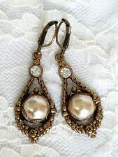 Vintage Art Deco Style Cream Pearl Crystal Cabochon Dangle Earrings Artisan