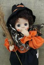 "Vintage Brinn's 15"" Doll Witch W Broom October Calendar 1988 Poseable Limited ED"