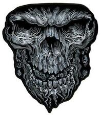 JUMBO EMBROIDERED MULTIPLE FACES IN SKULL JBP070 6 INCHES iron back dark scary