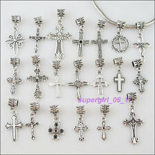 20Pc Tibetan Silver Cross Connector Charm European Bail Beads Fit Bracelet Mixed