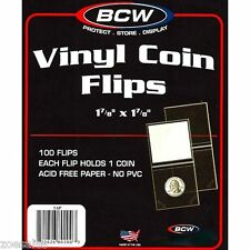100 BCW 2x2 DOUBLE POCKET VINYL COIN FLIPS / Coin Holders - With Label Inserts
