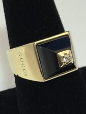 GUCCI 18K SOLID GOLD BLACK QUARTZ DIAMOND RING SZ 9 1/2 RARE