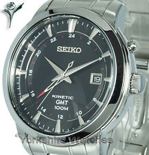 New SEIKO KINETIC GMT BLACK FACE Dual Time STAINLESS STEEL BRACELET SUN033P1