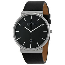 Skagen Ancher Black Dial Black Leather Mens Watch SKW6104