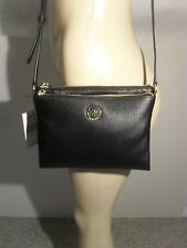 NWT Michael Kors Fulton Black Leather Large EW Crossbody Bag Handbag MK Logo