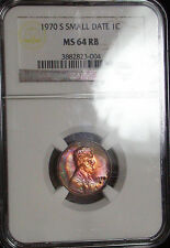 1970-S Small Date NGC MS64RB - Lincoln Cent Target Rainbow Color Tone
