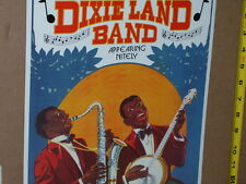 DIXIELAND BAND -- Shows Two Musicians -- SAXOPHONE & BANJO - OLD SIGN Dated 1993