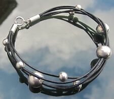 Black Leather Cord Bracelet with Large Beads 925 Sterling Silver Ends and Clasp