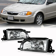 Chrome Housing Clear Lens Headlight Lamps Set For 1988-1989 Mazda Protege 323