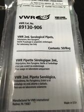 VWR 2 ML SEROLOGICAL PIPETS, 89130-906, NEW. ID#300204