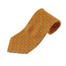 Authentic Salvatore Ferragamo Classic Cars Motif Tie Orange Silk #f22492