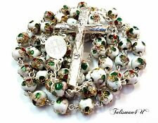 WHITE CLOISONNE CATHOLIC ROSARY NECKLACE ROSE BEADS BIG JERUSALEM JESUS CROSS
