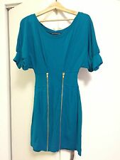 NWOT FCUK FRENCH CONNECTION GOLD ZIP TURQUOISE BLUE DRESS SZ 0