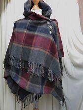 STUNNING QUIRKY TARTAN, ITALY LAGENLOOK 80% WOOL SHAWL/SCARF/STOLE, ONE SIZE S/M