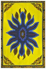 African Fabric Panels ~ Wax Print~ Turquoise Blue/Yellow, Made in Nigeria