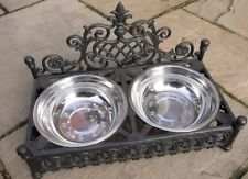 Shabby French Chic Dog Cat Pet Bowl Black Ornate Feeding Dish Metal Two Bowls