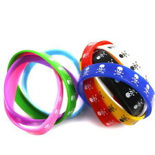 15pcs Fashion New Print Skull Colorful Rubber Wristband Bracelets Charms LC