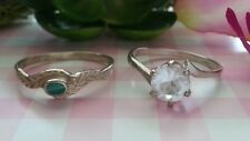 Two Beautiful Vintage Gemstone Rings Real Sterling Silver *Size 5.5 *X53