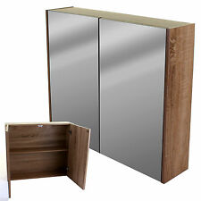BATHROOM CABINET DOUBLE MIRROR DOOR WOOD EFFECT FRAME MEDICINE TOILETRIES STORE