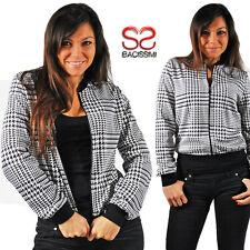 Felpa donna con cerniera pied de poule giacca giacchetta giubbino maglia 343