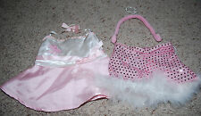 Build A Bear Clothing LOT Pink Fancy Dress & Sequin Feather Shorts Headset 1 Bow