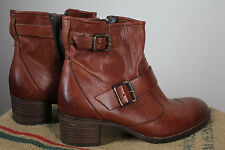 Paul Green $398 Ankle Boot Bootie Handmade Cognac Brown Leather Size 3.5 or 6