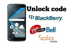 Unlock code Bell Virgin Solo Blackberry Priv  Classic DTek50 Z30 Z10 Passport