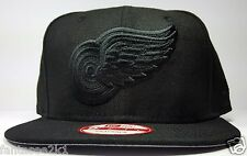 Detroit Red Wings New Era 9Fifty Vintage Black & Black Logo Snapback Hat Cap NHL